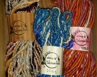 Talisman locks Custom hand spun art yarn.