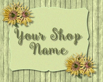 Sunflower Wood Banner, Wood Banner Set, Shop Banner Set, Banner Set, Cover Photo, Banner Design, Premade Banner,