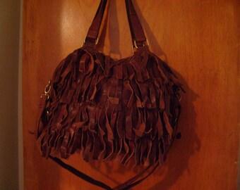Leather Fringe Brown Bag Purse Beautiful