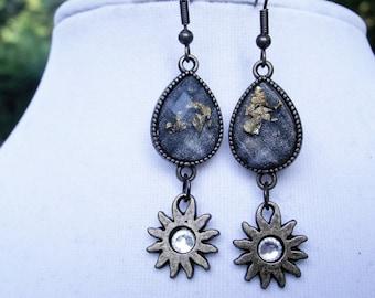 Smokey Blue and Gold Fleck Sun Drop Earrings