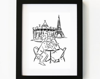 Lovers in Paris Print no.2, Illustration Art Print, Room decor, Gifts For Couple, Boyfriend Gift, Valentines Day, Wall Art, Poster