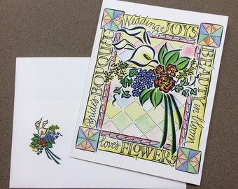Wedding Card - Hand Lettering & Design by Ruth Pettis - Bright Cheerful - Flower Bouquet