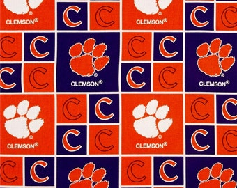 NCAA Clemson Tigers 100% Cotton Fabric by the yard (IST1)
