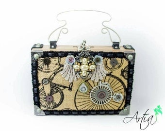 Steampunk inspired Victorian Bicycle box purse