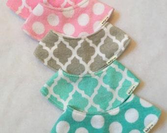 Stylish shawl bib, wide bib, absorbent bib, drool bib, snap bib, baby accessory, novelty bib, terry velour bib