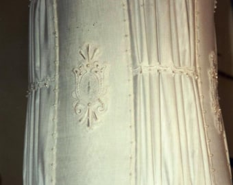 White Frosting lamp shade in satin. OOAK.