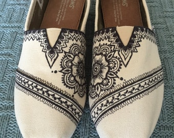 Custom, Hand Drawn Henna Lace TOMS