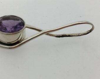 Purple Amethyst Small Circular Dangling Sterling Silver Pendant