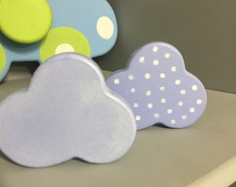 Drawer Knobs. Nursery Decor.   Blue whitewash and Blue Polka Dot. A beautiful idea for a nursery or to brighten any childs room or playroom.