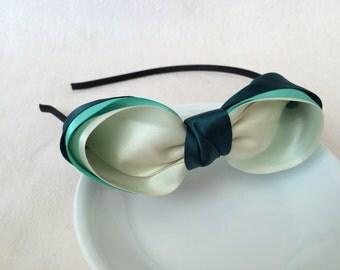 Big Triple-Layer Bow Headband for Kids/ Girls, Dark Green, Mint and Cream Satin Ribbon, Handmade by WizLove70