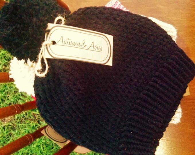 Black Slouchy Crochet Hat With pom pom