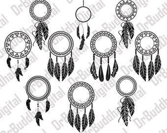 Sale! Dream Catcher Monogram Frame SVG Collection - Feather, Indian DXF - Dreamcatcher - SVG Files for Silhouette Cameo or Cricut