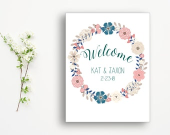 Personalized Wedding Welcome Sign with Date| Welcome Sign| Floral| Wreath