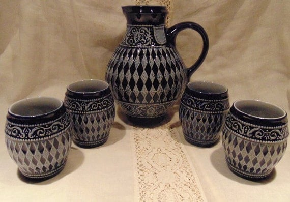 Vintage German Stoneware Pitcher with 4 cups
