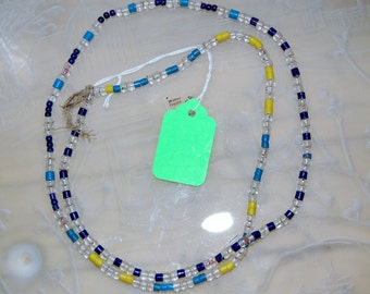 "African Artisan Beads - Yellow, Blue, Turquoise, and Clear Beads. 3-4 cm. (33"")"