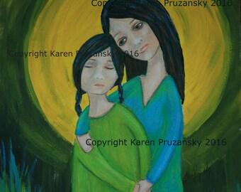 Acrylic Painting : Comfort; Original Artwork; Painting; Art; 10x12 Art Print; Mother and Child