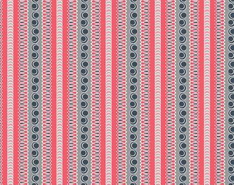 Fabric - Flourish Stripe Red, Cotton Fabric, Fabric by the Yard, Fat Quarter, Quilting Fabric, Stripe Fabric, Red Fabric