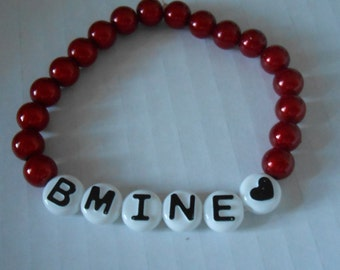 bracelet, beads, red, white, love, fun, stretchy, glow beads, quirky