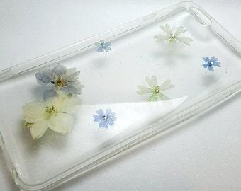 Pressed Flower Iphone 6 plus /6s plus Case (blue and white tone)
