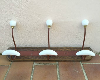 Shabby chic vintage wooden ceramic coat hanger hanging hooks knobs brass detail