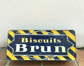 Vintage retro french metal box cute sugar biscuits bretagne BRUN