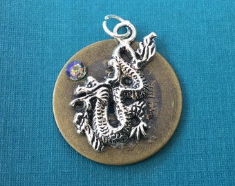 Chinese Good Luck Coin Pendant with Silver Dragon