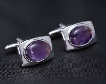 Silver Plated Cufflinks with Amethyst gemstones