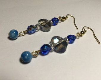 Blue crystal beaded dangle earrings