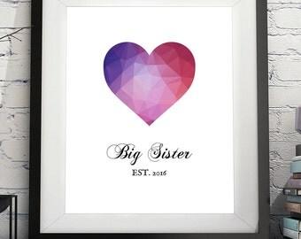 Big Sister Art Print, Big Sister Gift, Photo Prop, Pregnancy Annoucement, Pregnancy Reveal Sign, Big Sister Annoucement, Big Sister To Be
