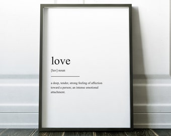Love Print, Valentines, Definition Print, Valentines Gift, Wall Art Prints, Quote Print, Minimalist Print. Modern Art, Love Art, Wall Art