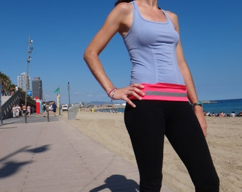 Running belt with reflective material, fitness belt, sports belt, travel belt, hiking belt, mobile holder, pink, blue, black