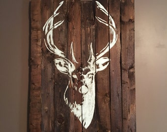 Deer head pallet sign, detailed, rustic, made to order