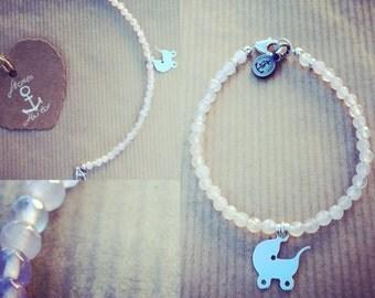 "Gemstone Rose Quartz bracelet with 925 Silver Pendant charm ""baby carriage"""