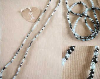 Gemstone necklace pyrite and Labradorite