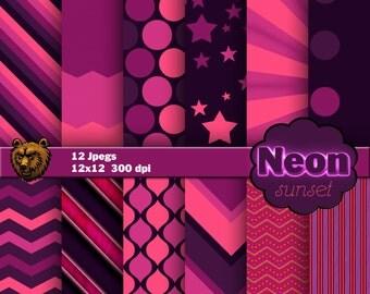 Neon Sunset, digital paper, background, scrapbooking, instand download
