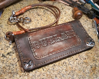 Outlaw Biker Wallet with Leather Wallet Chain
