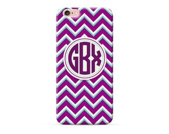 Personalised iPhone 7 Plus Case, personalised phone case, purple chevron iPhone 7 Case, monogrammed iPhone 6s plus case custom iPhone 6 case