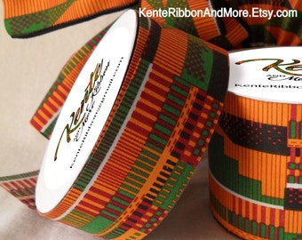 "Kente Style Ribbon - NON-wired - 1-3/8"" x 20 yards roll - Printed Kente Cotton Fabric (starched)"