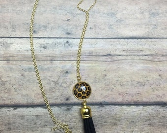 Gold Leopard Tassel Necklace in Black or Bright Pink