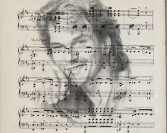 Printing / Antique sheet Music /patrick swayze/ Hand made decor interior picture ART