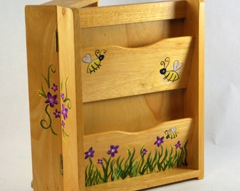 Hand Painted Natural Wood Bees Flowers, Customized, Personalized Jewelery Cabinet, Kids, Girls, Art Decor