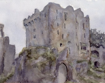 Blarney Castle by Emily Kate Tenison. Original 7 x 10 watercolor on paper.