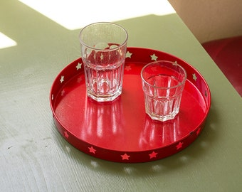 Red retro metal serving tray