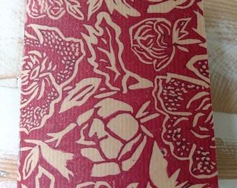 Red linoprint handmade notebook