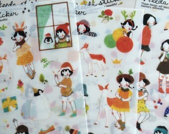 6 sheets Korea Transparent deco stickers - Heeda sticker