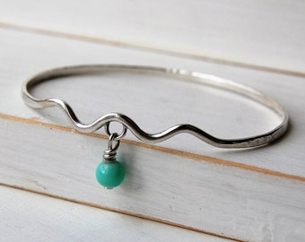 Sterling Silver Wave Hammered Bangle with Turquoise Bead