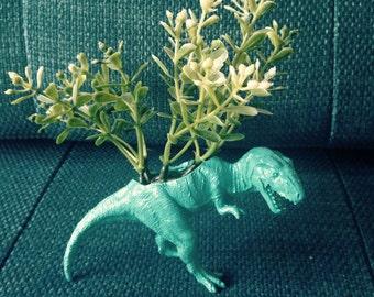 Reginald - blue plastic dinosaur planter