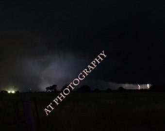 Severe Weather including Tornado's Night Lightning Storms with Multiple Lightning Bolts over the Kansas Landscape of the Flint Hills
