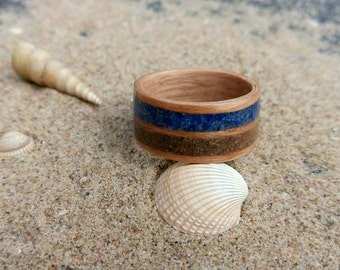Sand and Lapis and Cherry bentwood ring