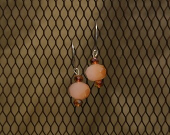Pink and Brown Crystal Earring